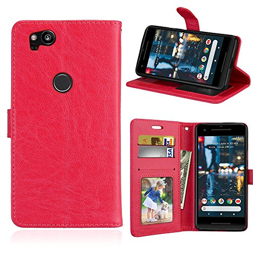 Alfort Google Pixel 2 Hülle Handyhüle, Prämie PU Leder Schutzhülle Stilvolles Lederhülle für Google Pixel 2 Smartphone Handy Tasche Wallet Flip Case Cover mit Karten Steckplatz (rot)