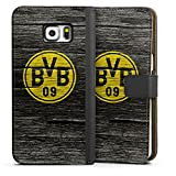DeinDesign Samsung Galaxy S6 Edge Plus Tasche Leder Flip Case Hülle Borussia Dortmund BVB Holzoptik