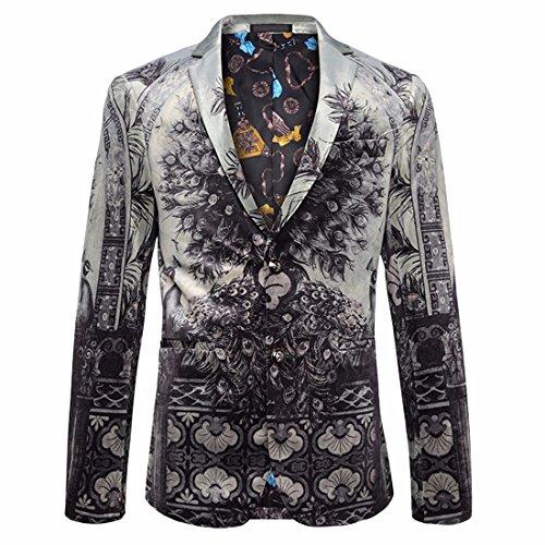 Xsiapas Herren Mode Pfau Gemustert Slim Fit Blazer Anzug Jacken Sport Mantel (Blazer Sport Herren Mantel)