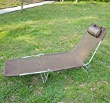 OUTSUNNY SUN BED CHAIR GARDEN LOUNGER RECLINER ADJUSTABLE BACK RELAXER CHAIR FURNITURE COFFEE