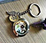 Haustier-Verlust Gedenken Schmucksachen Medaillon Schlüsselring - Geschenkbox Hund oder Katze Denkmal Gedenkstätte Haare, Asche oder Foto Sympathie Beileid
