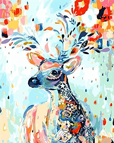 DIY ölgemälde Malen nach Zahlen Neuerscheinungen Neuheiten - DIY Gemälde durch Zahlen, Malen nach Zahlen Kits digitales Ölgemälde-Deer (Mit Rahmen)