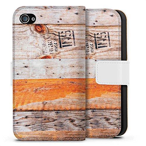 Apple iPhone X Silikon Hülle Case Schutzhülle Holz Look Planken Muster Sideflip Tasche weiß