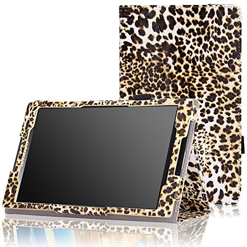 MoKo Lenovo Tab S8-50 Hülle - PU Leder Tasche Ständer Schutzhülle Ledertasche Schale Smart Case Cover mit Stift-Schleife und Standfunktion für Tab S8-50 8 Zoll Android 4.4 Tablet-PC, Leopard Braun