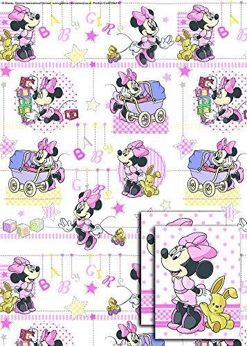 Disney Geschenkpapier und Geschenkkärtchen, je 2Stück, Motiv Minni Baby