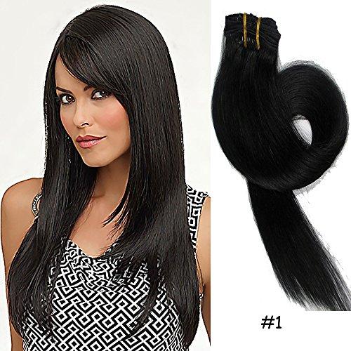 Clip-In-Extensions fuer komplette Haarverlaengerung - hochwertiges Remy-Echthaar -70g -38cm -7tlg 1# Dunkel Schwarz