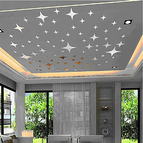 Preisvergleich Produktbild Acryl 43pcs Sterne Sky Mirror Aufkleber Wand Decke Zimmer Decal Decor Art DIY,  Silber