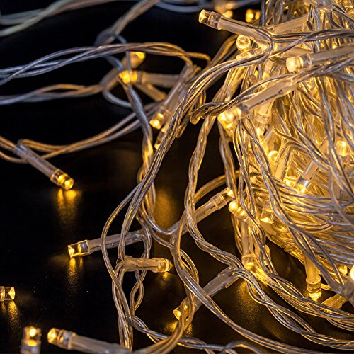 D-Beleuchtung Wasserdicht String Lights für Innen und Außen mit 8 Modi und Speicherfunktion, LED Lichterkette mit 31V DC Niederspannungs-Transformator, EU Stecker, 100 LED 12.8M Warmweiß für Weihnachten Garten Festival Party Hochzeit Dekoration Weihnachtsbaum Deko (Transformator Halloween)