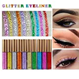 IGEMY 10 Stücke Metallic Shiny Smoky Eyes Make-Up Lidschatten Wasserdicht Glitter Liquid Eyeliner Langlebig Wasserdicht Augenkontur Kosmetik (Bunt)