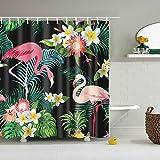 Nibesser Flamingo Anti-Schimmel Duschvorhang waschbarer Textil Badewannenvorhang Digitaldruck inkl. 12 Hacken Bad Vorhang für Badezimmer Badewanne 180cmx200cm