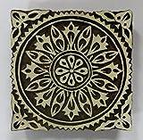 Quadratischer Holz-Stempel, Blumenmotiv, indisch, handgeschnitzt