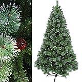 180 cm env. 950 aiguilles arbre de Noël artificiel, décoratif et EXCLUSIF, haute qualité avec pointes enneigées et pommes de pin (difficilement inflammable), HXT 1305