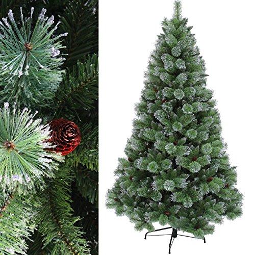 RS Trade® 120 cm ca. 400 Spitzen Dekorierter, Exklusiver künstlicher Weihnachtsbaum der Spitzenklasse silberne Spitzen und Tannenzapfen ( schwer Entflammbar ), HXT 1305