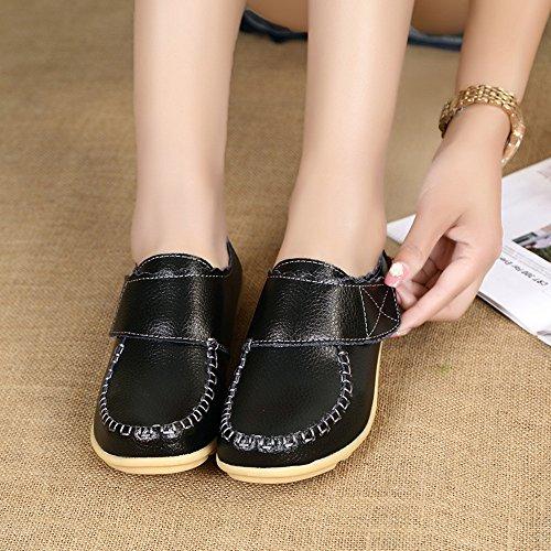 Pelle Mocassini Donne Eleganti Loafers Velcro Comfort Scarpe da Barca Arancia 38 b5Y8TgXfb