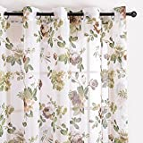 Top Finel cortina transparente de paneles para sala de estar,visillo de jardin bloom, 140 CM anchura por 215 CM longitudojales,solo panel,marron