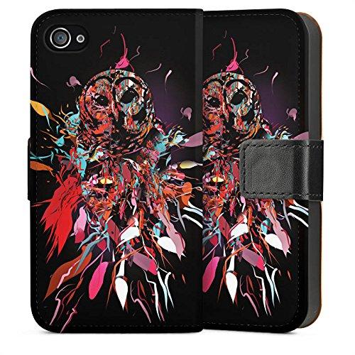 Apple iPhone 4 Housse Étui Silicone Coque Protection Hibou Hibou Art Sideflip Sac