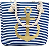styleBREAKER Strandtasche in Streifen Optik mit Anker, Schultertasche, Shopper, Damen 02012038, Farbe:Blau-Weiß / Gold