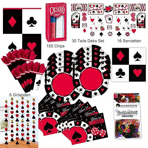 Abend Party Deko Set XL 236-teilig für 8 Gäste Pokerset Partypaket ()