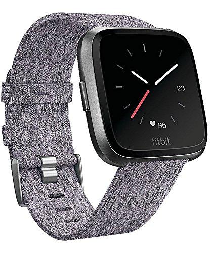 Omicton Fitbit Versa Gurt, anthrazit gewebter Stoff Handgelenk Band, W/Quick Release Armbanduhr BANDS, Ersatz-Armband mit Edelstahl-Schnalle für Fitbit Versa Fitness Smart Watch