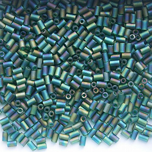 Emerald Frosted AB Glass Bugle Beads 9g 3mm BU3-023F