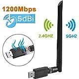 Maxesla WiFi Adaptador AC 1200Mbps USB WiFi Receptor Dual Band 2.4G/5GHz, WiFi Antena para PC Desktop Laptop Tablet, Soporta