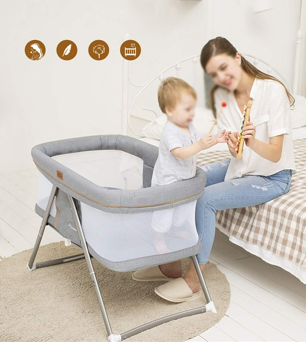 Multifunction Baby Cot, Mosquito Net Metal Foldable Space Saving Shaker Bedside Travel Bed, 54 * 91 * 66CM (Color : Gray) Zhao ♥ Product Name: Multifunctional crib / / Size: 54 * 91 * 66CM / / Material: cloth; ♥Characteristics: widening and widening, high fence, no need to worry about naughty baby turning over, easy to install, one-handed one-button storage, fine-woven high-density linen, not easy to wrinkle, encrypted polyester mosquito net, high-molecular alumina thickened tube, Strong bearing capacity; ♥Bionic uterus design, give your baby enough safety, let the baby sleep sweetly; 3
