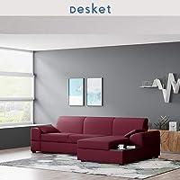 Liken 4 Seater L Shape Sofa (RHS Maroon) by DESKET