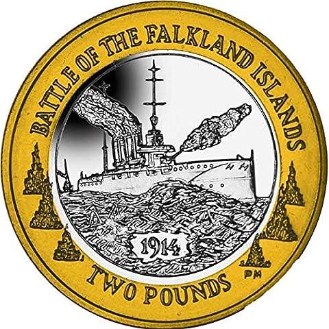 Îles Falkland 2014 centenaire de la bataille de Falkland £ 2 pièces
