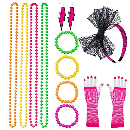 Neon Bracelets, Multicolour Bead Necklaces, Lace Bow Headband, Long Fishnet Gloves, Lighting Earrings