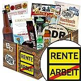 Rente | Mann Geschenk | Geschenkbox | Rente | inkl Markenbuch | Männergeschenke | Geschenk für Renteneintritt | mit Zollstock Held der Arbeit, Bier, Schnaps und mehr