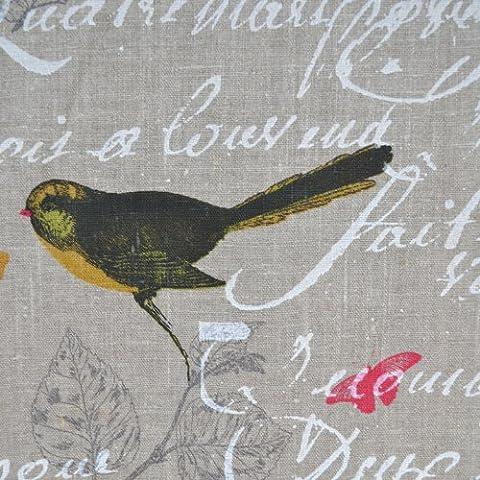 Tela de lino - Aves (tela natural) - 100% lino suave | ancho: 140cm (1 metro)