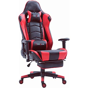 top gamer ergonomische fu st tze computer gaming hohe r ckenlehne drehstuhl b ro. Black Bedroom Furniture Sets. Home Design Ideas