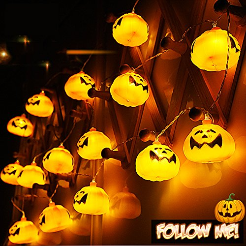 Finsink Halloween Kürbis LED licht Lichterkette Beleuchtung für Außen Halloween Party ()