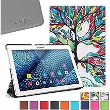 BeePole Lenovo Tab 2 A10-30/A10-70F Funda - Funda protectora inteligente triple de cuero PU para Lenovo Tab 2 A10-30 / A10-30F / A10-70 / A10-70F, con soporte y función magnética despertador/apagado automática, Árbol