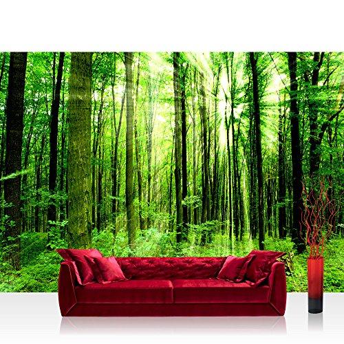 vlies-fototapete-350x245-cm-premium-plus-wand-foto-tapete-wand-bild-vliestapete-sunlight-forest-wald