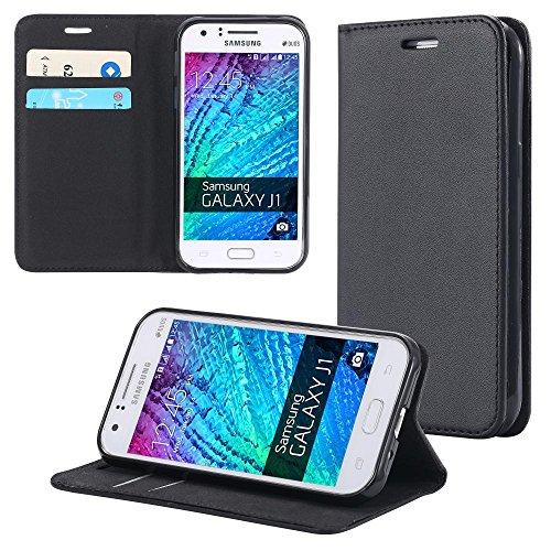 ECENCE Handyhülle Schutzhülle Case Cover kompatibel für Samsung Galaxy J1 (2015) Handytasche Schwarz 42030108