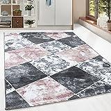 Kurzflor Guenstige Teppich modern Patchwork Fliesen Muster Schwarz Grau Weiss Pink meliert 5 Groessen Wohnzimmer, Gästezimmer , Flur, Schlafzimmerm, Kueche, Läufer, Größe:200x290 cm