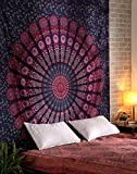 #8: Tapestry Lovers Peacock Mandala Wall Hanging Tapestry Psychedelic Bedsheet Bedspread Beach Throw Towel Blanket Room Decoration Picnic Yoga Garden Mat Twin Single Size Cotton Tapestry 54 X 84