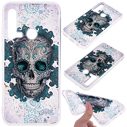 Kreative icht Durchsichtiges für Huawei P20 Lite 2019 /Nova 5i,Klar Transparent Sparkle Bling Glitter Flexible 3D Flower Cartoon Gel Gomma TPU Ultra Dünn Slim Silikon Handy Hülle Case