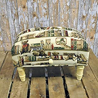 AcaciaHome Teddy Bear Teddies Books Tapestry Footstool Wooden Legs