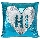 #10: Okayji Sequin Mermaid Throw Pillow Cover with Magical Color Changing, 1-Piece, SkyBlue