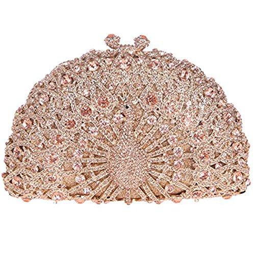 Bonjanvye Glitter Crystal Peacock Clutch for Girls Peacock Clutch Evening Bag Dark Blue rose gold