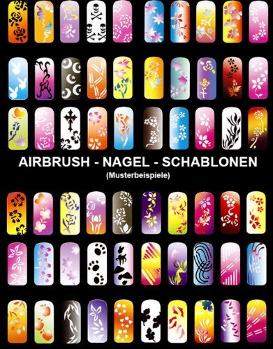 AIRBRUSH FINGERNAGEL SCHABLONEN SET für AIRBRUSH KOMPRESSOR und BEATY NAIL ART