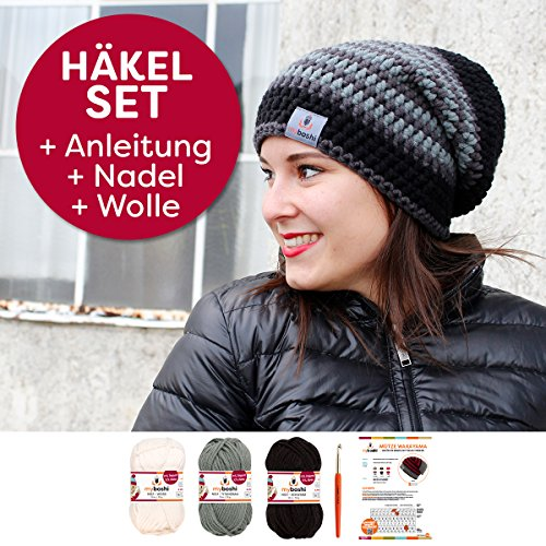 myboshi Häkel-Set Mütze | aus No.1 | Anleitung + Wolle | mit passender Häkelnadel Wakayama schwarz, weiß, titangrau