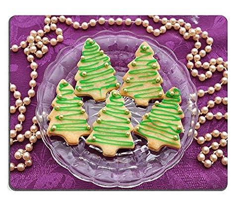 Liili Mauspad Naturkautschuk Mousepad Weihnachtsbaum Cookies Bild-ID