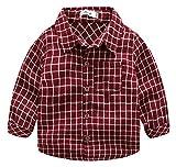 kimocat Baby Hemd Kariertes Hemd Langarm Shirt Baumwolle Kinderhemd Trachtenhemd Rot-95cm