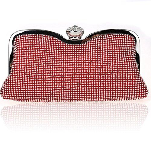 La nuova borsa di modo di diamante della frizione abiti da damigella bag sposa banchetto borsa da sera vestito bag femminile ( Colore : Nero ) Rosso