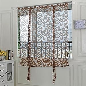 Upxiang 1PCS Romantische Sling Cut Blumen Tr Vorhang Tulle Fenster Fensterbearbeitung Transparent Gardine