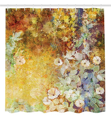 Curtains Ideas curtain paintings : Artistic Botanical Floral Paintings Decor by Ambesonne, Shower ...