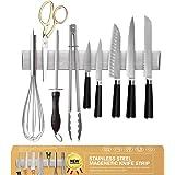 Ninonly Barre Magnétique pour Couteaux 30cm Porte Couteaux Aimanté, Barre à Couteaux Aimantée en Acier Inoxydable, Mural Supp